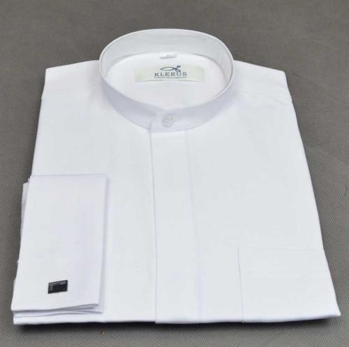 ac05ffaa3 Biała koszula z małą stójką pod sutannę KK18ms